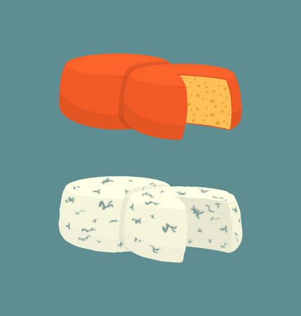 Hard cheese variety isolated icons set vector. Diary product made of milk, homemade natural food with mold and mildew. Meal and rounded snack part