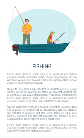 Fishing Man in Motorboat with Rod or Tackle Poster Illustration