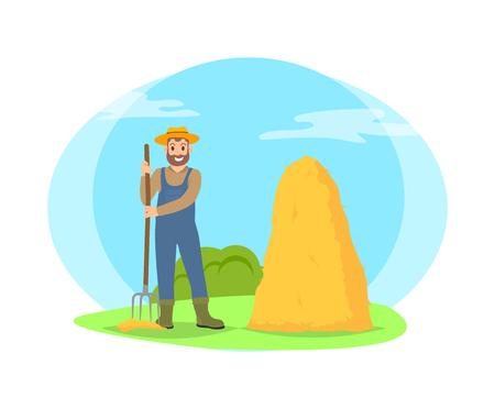 Landwirt harken Heu in Garbe Cartoon-Symbol isoliert auf Landschaft. Lächelnder glücklicher bärtiger Mann in Hut, Uniform und Stiefeln, der mit Mistgabelvektor steht