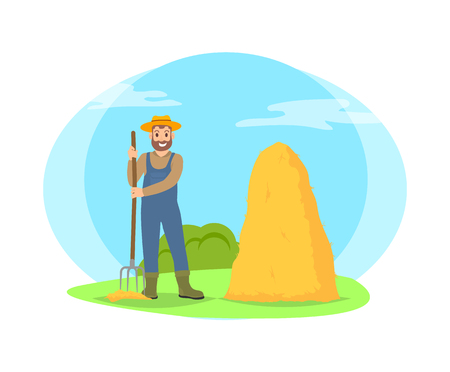 Farmer raking hay in sheaf cartoon icon isolated on landscape. Smiling happy bearded man in hat, uniform and boots standing with pitchfork vector Illustration
