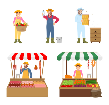 Sellers and farmers isolated icons set. Woman with harvesting basket, man and milk product, beekeeper and honeycomb. Vendors at marketplace vector