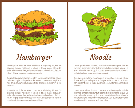 Hamburger and noodle posters set of fast food. Asian traditional meal served with chopsticks. American bun with ham, salad leaves vector illustration Stock Illustratie