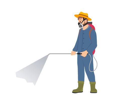 Agricultor rociando productos químicos aislado icono de dibujos animados