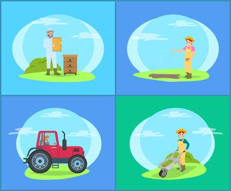 Apicultor en tierra y tractor ilustración vectorial