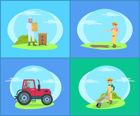 Beekeeper on Land and Tractor Vector Illustration