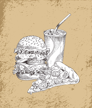 Fast food set hamburger and drink beverage poured in plastic cup and straw. Monochrome sketches outlines, pizza slice with cheese vector illustration Illustration