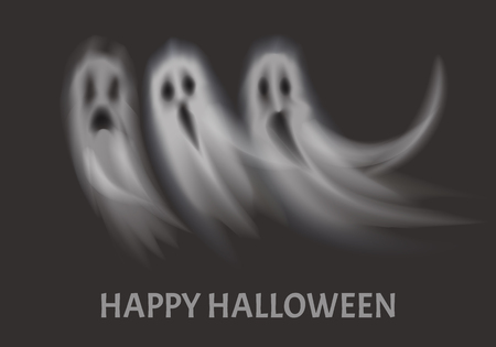 Happy Halloween Apparitions Set Poster Vector Illustration
