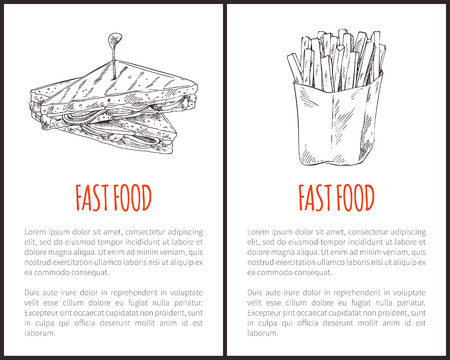 Fast Food Fries and Sandwich Vector Illustration Ilustração