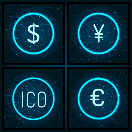 Ico and Dollar Euro and Yen Currency Set Vector Illustration