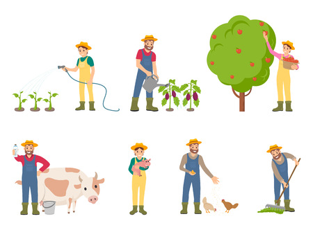 Farmer people with pig and cow vector. Isolated icons of farmers on land watering plants and spraying with chemical liquid. Feeding animals livestock