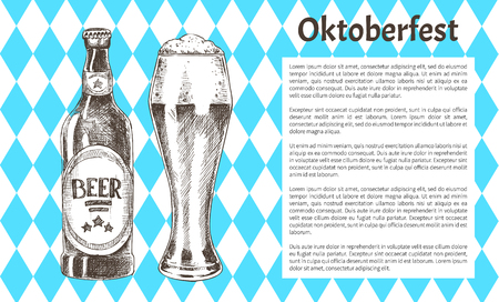 Oktoberfest beer objects set hand drawn icons. Full tumbler with flowing foam and closed bottle on blue and white rhombuses vintage vector template