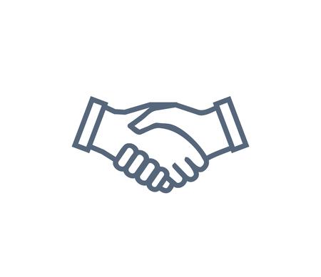 Handdruk icoon symbool van samenwerking en partnerschap. Overeenkomst en eenheidssymbool, handen schudden elkaar vectorillustratie geïsoleerd op wit.