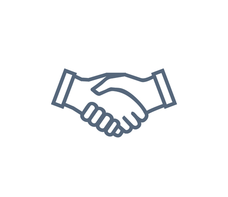 Handshake icon symbol of collaboration and partnership. Agreement and unity symbol, hands shaking each other vector illustration isolated on white. Stockfoto - 113273335