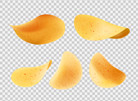 Crispy chips made of potato slices vector isolated icons on transparent background. Snacks with salt and pepper, spicy fried fast food nutrition fries