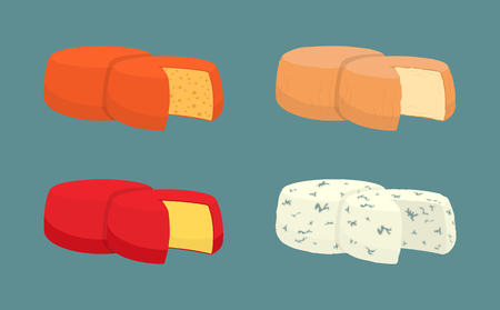 Hard cheese icons closeup set vector. Italian and French dairy products derived from milk in form of ring. Different type of fresh nutritious snacks Illustration