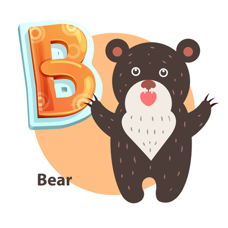 Bear word for B letter or sound spelling and remembering. Children vector alphabet flashcard isolated with cartoon character roaring taliped beary. Illustration