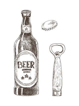 Beer and bottle opener with cap isolated on white vector illustration, graphic image made by pencil, concept of glassy flask for alcohol drink storage Illustration