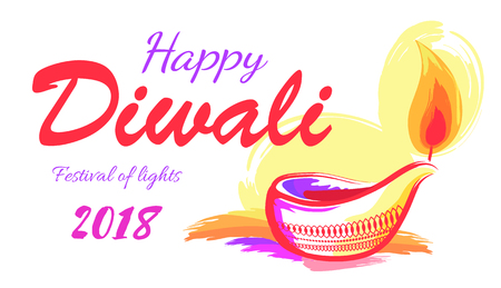 Happy Diwali 2018 festival of lights banner decorated with luminous candle lamp with orange frame. Vector illustration of indian poster on white