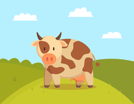 Spotted cow graze on lawn vector illustration, image of domestic animal with small horns and udder for milk production, green meadow with pretty pet