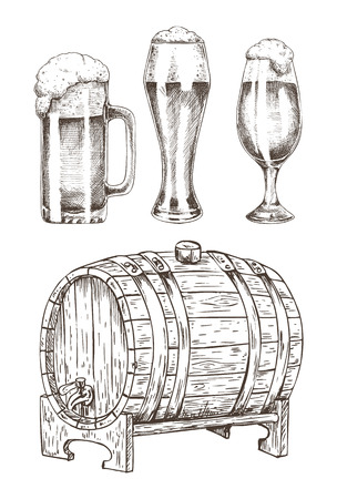 Beer set and round wooden cask vector illustration, graphic art of oak barrel, three glossy goblets with tasty foamy beer, stuff for alcohol drinks Archivio Fotografico - 127210085
