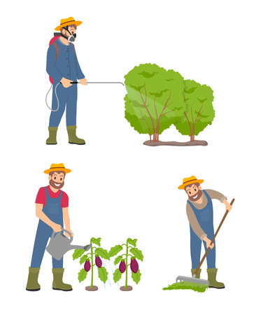 Farming man with sprayer icons vector. Curing bushes and protecting leaves from incest, watering plantation of aubergines. Male with compost and rake Çizim