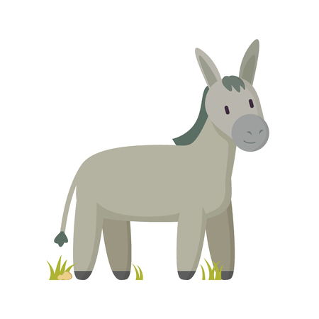 Donkey farm animal vector illustration. Gray burro smiling cartoon character standing on glass mellowy tint applique isolated poster for children.