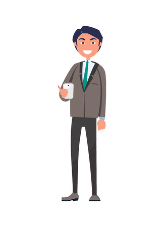 Cheerful Man in Suit and Tie, Smartphone Vector