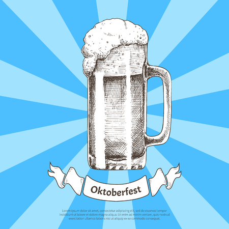 Big beer quencher in glass mug with foam. Vector illustration in sketch style on radiant backdrop in traditional Oktoberfest color with text sample. Ilustração