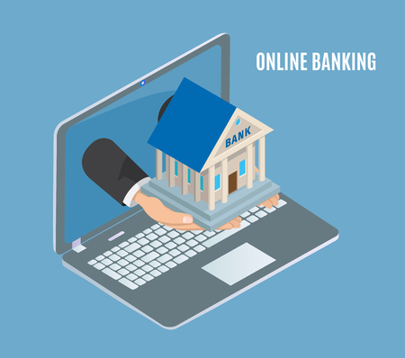 Online banking poster laptop vector poster with text and human hands holding bank building. Financial institution connected to money and payments