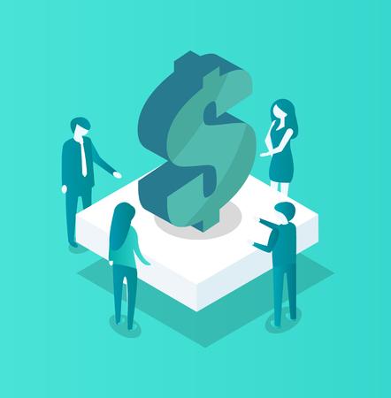 Blockchain Meeting of People Vector Illustration Illustration