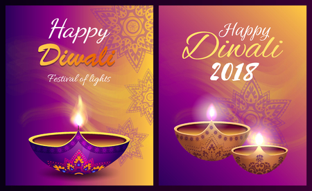 Happy Diwali Festival of Light Vector Illustration Ilustração