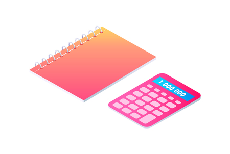Notebook on spring and calculator isolated set vector cartoon banner. Neon spiral notepad, paper for writing and calculating tool, 3d isometric style Stock Vector - 113046268