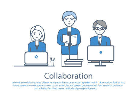 Collaboration people at work poster with text sample vector. Male reading documents information on pages. Male and female looking at laptop screens Ilustrace
