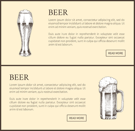 Beer objects set hand drawn vector sketches. Full tumblers with flowing foam isolated on beige vintage icons illustrations for bar menu template. 向量圖像