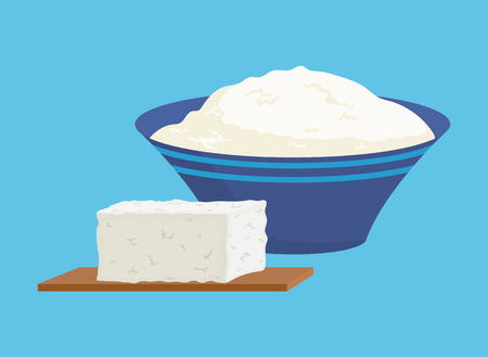 Cottage cheese portions isolated icons set. Vitamins and calcium, food rich in proteins. Homemade organic meal. Healthy dieting dairy products vector