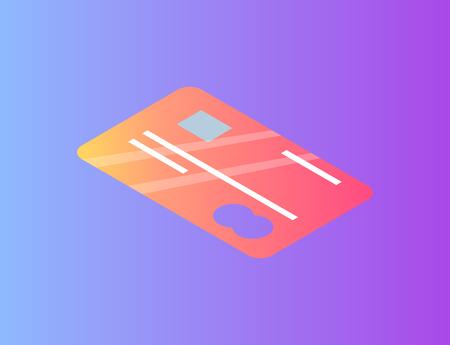 Debit or Credit Card with Emblem Icon Illustration