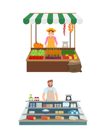 Trade of woman and man set of isolated icons vector. Seller with peppers, cabbage and cucumber, pumpkin and tomatoes. Man and diary milk products