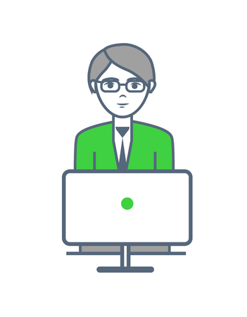 Male smart worker working by laptop isolated vector. Human wearing glasses and looking at screen of computer monitor. Job at office, man occupation