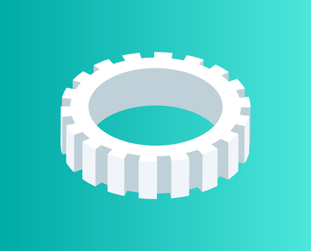Gear mechanism isometric 3d isolated icon vector. Cogwheel metal element of rounded shape. Technical item industrial part technology made of steel