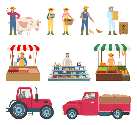 Farmers Working and Selling Vector Illustration  イラスト・ベクター素材