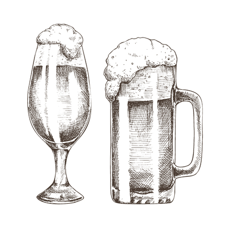 Glitter ale goblets and foamy beer graphic art, vector illustration of glassy utensil isolated on white background, frothy alcohol drinks in glasses