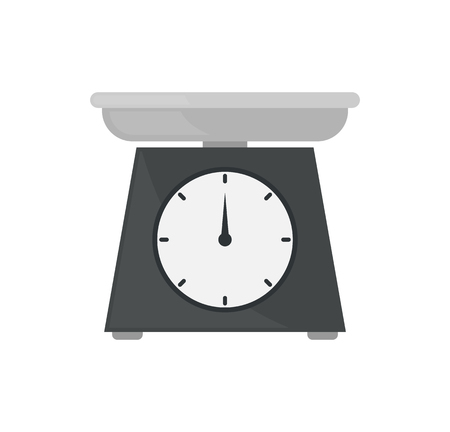Scales with pointer numbers showing weight of selling product. Isolated icon closeup used for measurement at marketplaces by vendors sellers vector Illustration