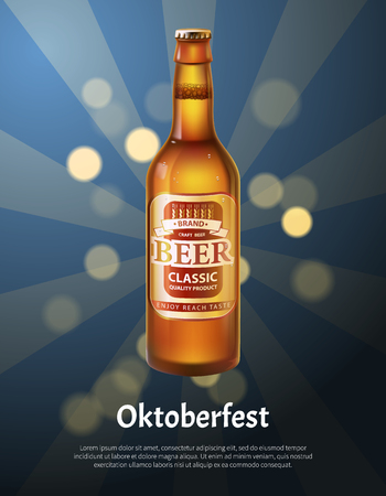 Oktoberfest poster with realistic bottle of beer vector on background of sparkles. Brown glass container with light alcohol drink with rays and dots