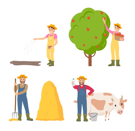 Farmer Sowing Seeds Icons Set Vector Illustration