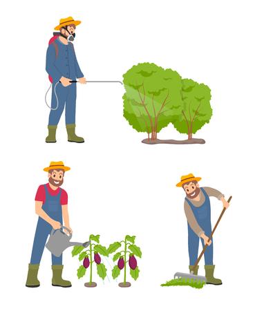 Farming Man with Sprayer Set Vector Illustration
