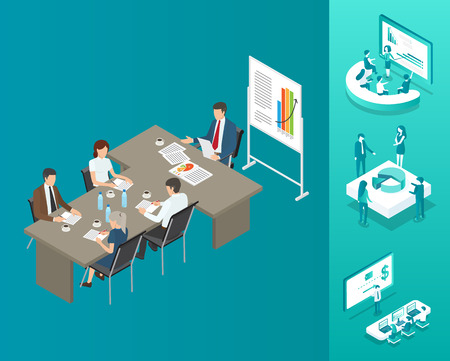 Meeting of Boss and Workers Vector Illustration Archivio Fotografico - 113273416