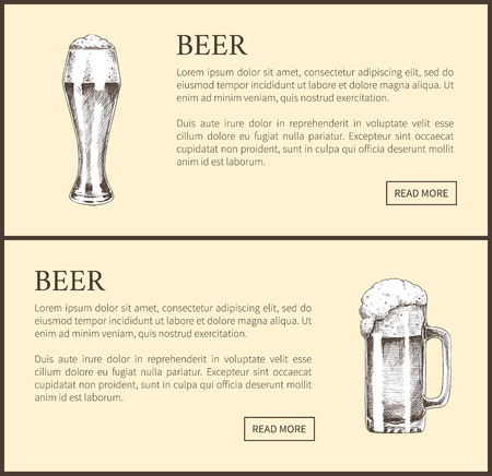 Beer Objects Set Hand Drawn Vector Sketches. Stock Photo