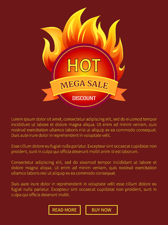 Mega Sale Burning Labels with Info About Discounts