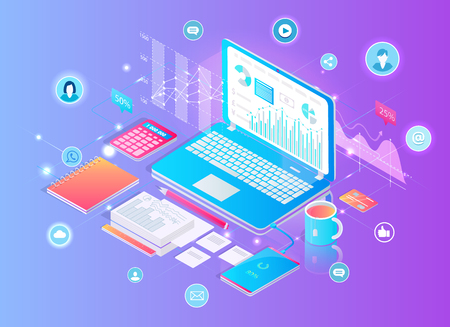 Digital Finance Analytics Set Vector Illustration