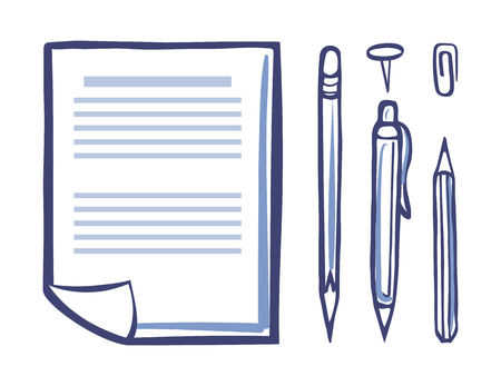 Office sheet of paper, document page icons set monochrome sketch vector. Pen and pencil for writing and assigning documentations. Clip and eraser